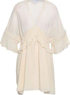 Iro Iro Woman Folula Shirred Georgette Mini Dress Ecru Size 36