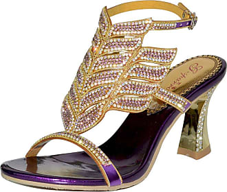 Find Nice Ladies Fashion Rhinestones Wedding Dress Bride Comfort Evening OL Slingback Party Chunky Sandals Purple 5.5 UK