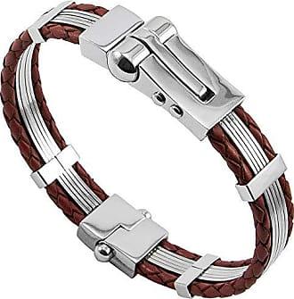 Tudo Joias Bracelete Algema Luxe de Aço Inox 316L Com Couro Vermelho