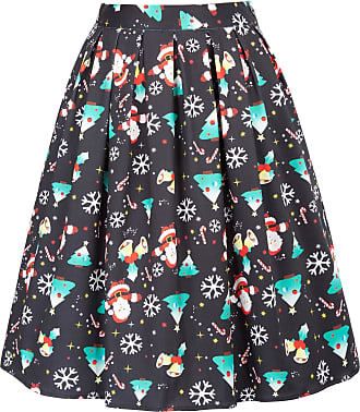 Grace Karin Women Skirt Christmas Pattern Party Cocktail Skirt 40s 50s 60s Rockabilly A-line High Tea Swing Skirt CL649-1 L