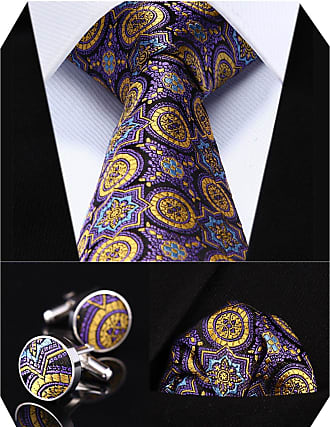 Hisdern Mens Floral Wedding Silk Neck Tie and Pocket Square Cufflinks 3pcs Set One Size Purple/Yellow