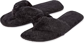 Forever Dreaming Womens Open Toe Memory Foam Faux Fur Indoor Flip Flop Thong Slippers Black 3