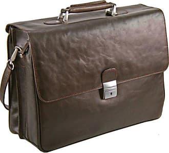 Dermata cartella portadocumenti pelle 42 cm compartimenti portatile marrone scuro