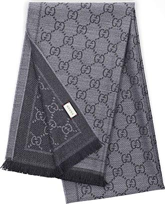Gucci Scarf 3G200 Wool Logo grey black