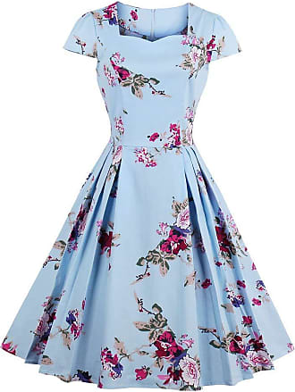QUINTRA Womens Summer Large Size Casual Loose Natural Short Sleeve Flower Print Vintage Fit and Flare Mid-Calf Dress Blue