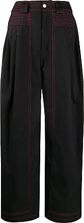 Koché Calça pantalona com detalhe de pesponto - Preto