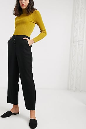 Whistles button front trouser in black