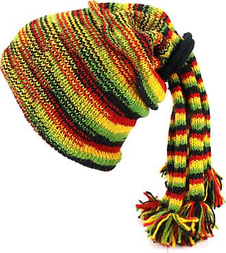 Loud Elephant Wool Knit Fountain Tassels Hat - Rasta SD
