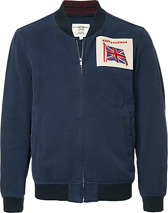 Kent & Curwen logo patch bomber jacket - Blue