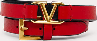 Valentino Garavani Valentino Garavani Vlogo Signature Double-strap Bracelet In Calfskin Women Pure Red/black 100% Pelle Di Vitello - Bos Taurus OneSize