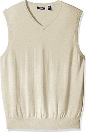 Izod Mens Premium Essentials Solid V-Neck 12 Gauge Sweater Vest, New Rock, Small