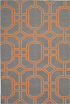 Safavieh Dhurries Collection DHU860B Hand Woven Blue and Orange Premium Wool Area Rug (4 x 6)