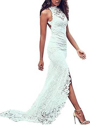 f9236bcc4e5939 SCHOLIEBEN Sommer Kleid Kleider Sommerkleider Damen Vintage Elegant Sexy  Maxi Lang Weiß Spitze Hochzeit Party Schickes