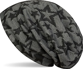 styleBREAKER Beanie hat with All-Over Star Print and Diamonds Honeycomb Pattern, Fleece Inner Lining, Slouch Long Beanie, Unisex 04024106, Color:Black