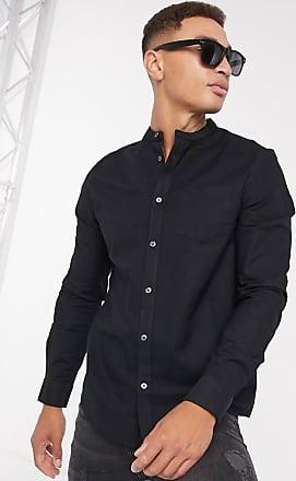 Burton Menswear long sleeve oxford with grandad collar in black