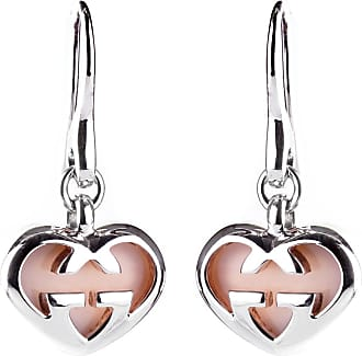 Gucci Pink Opal Double G Silver Heart Earrings
