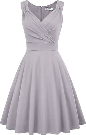 Grace Karin Dinner Dance Dress Vintage Event High Tea Dress Rockabilly Ruffled A-line Themed Night Dress M Light Grey