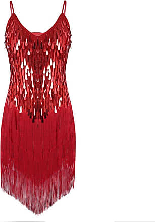 TiaoBug iixpin Womens Adjustable Strap Sparkling Sequin Fringe Tassel Rhythm Ballroom Salsa Samba Rumba Tango Latin Dance Party Dress Red One_Size