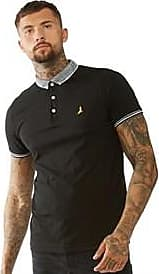Brave Soul short sleeve jersey polo top with pattered neck and sleeve edging