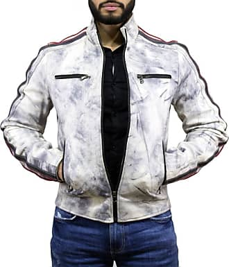 Leather Trend Italy Biker Uomo - Giacca in Vera Pelle colore Bianco Tamponato