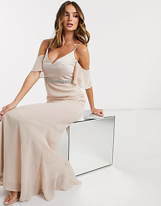Missguided angel sleeve bridesmaid dress in light pink