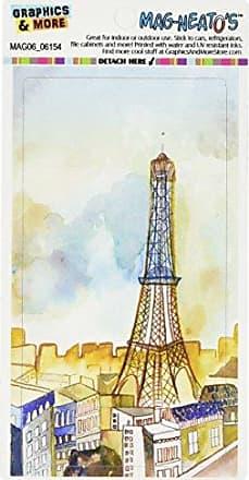 Graphics & More Watercolor Paris Blue Yellow Eiffel Tower France Mag-Neatos Automotive Car Refrigerator Locker Vinyl Magnet
