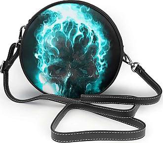 Turfed Cool Glowing Skull Print Fashion Round PU Crossbody Handbag Round Shoulder Bag For Women Girls
