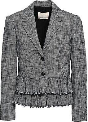 Rebecca Taylor Rebecca Taylor Woman Frayed Tiered Cotton-blend Tweed Blazer Black Size 8