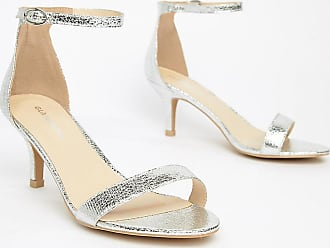 d14a7333542501 Glamorous Glamorous - Filigrane silberne Sandalen mit Kitten-Absatz in  weiter Passform - Silber