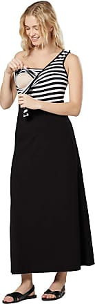 Zeta Ville Zeta Ville Womens Maternity Nursing Maxi Empire Waist Long Dress 1244 (Black with Stripes, UK 16, 2XL)