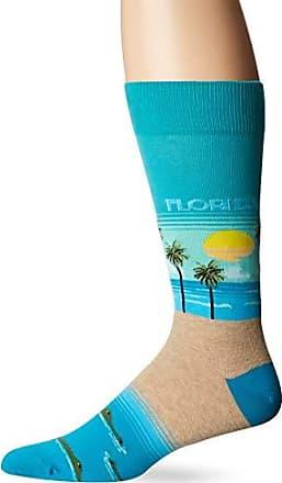 Hot Sox Mens Travel Series Novelty Crew Socks, florida (Teal), Shoe Size: 6-12
