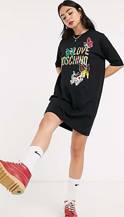 Love Moschino butterflies print logo t-shirt dress-Black