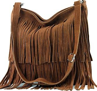 modamoda.de Ital. Leather bag Shoulderbag Shoulder bag Ladiesbag Wild leather T125, Colour:dark Camel