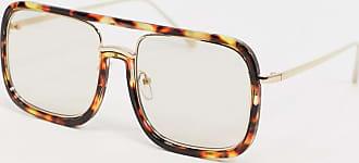 Asos Occhiali a mascherina oversize tartarugati con lenti flash chiare-Marrone