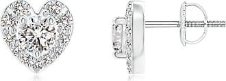 Angara Valentine Day Sale - Diamond Stud Earrings with Heart-Shaped Halo