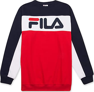 Fila Mens Big and Tall Long Sleeve Color Block Crew Neck Soft Comfortable Fleece Sweatshirt Navy/White/Red 2XLT