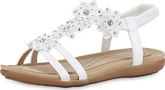 Scarpe Vita Women Strap Sandals Flower Rhinestone 191927 White UK 7 EU 41