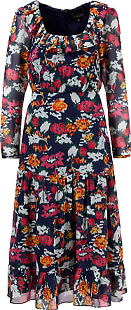 Saloni Seidenkleid Misha mit floralem Print Pink/Multi