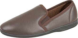 Zedzzz Mens Gents Leather Look Full Slippers Black Brown Size UK 6-14 (6, Brown)