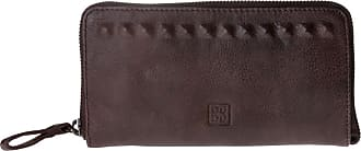 DuDu Portafogli donna in pelle visutta vintage zip around con borchie DUDU Cocoa Brown