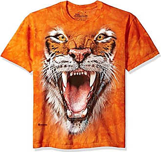 The Mountain Roaring Tiger Face Adult T-Shirt, Orange, 4XL