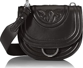 Pinko Round Love New Monogram Womens Shoulder Bag, Black (Nero Limousine), 7x17x20 centimeters (W x H x L)