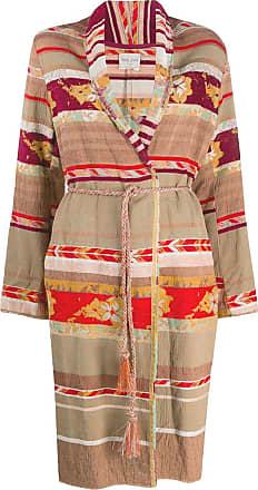 Forte_Forte patchwork design belted coat - Neutrals