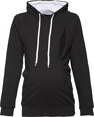 Happy Mama Womens Maternity Hoodie Nursing Sweatshirt Kangaroo Pocket. 324p (Black, UK 16, 2XL)