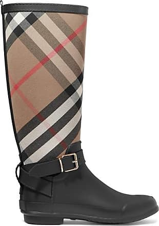 1f885f6fa6f Burberry Checked Cotton-canvas And Rubber Rain Boots - Black