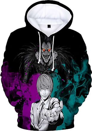 Haililais Death Note Pullover Personality Sweatshirt Winter Hooded Parent-Child wear Tops Printed Pullover Unisex (Color : A02, Size : 160)
