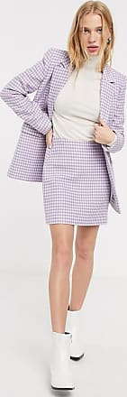 & Other Stories gingham check pelmet skirt in lilac-Purple