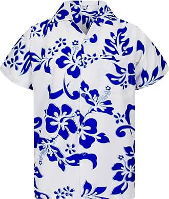 V.H.O. Funky Hawaiian Shirt, Hibiscus, Indigoblue on White, 6XL