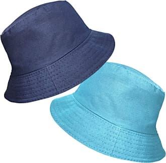 TOSKATOK UPF 50+ Ladies Womens Reversible Cotton Bucket Sun Hat - 2 Hats in 1-Turq/Navy
