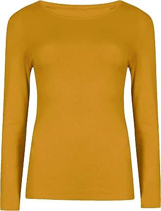 Islander Fashions Ladies Long Sleeve Stretchy T Shirt Womens Plain Round Neck Fancy Shirt Top Mustard XXX Large UK 24-26